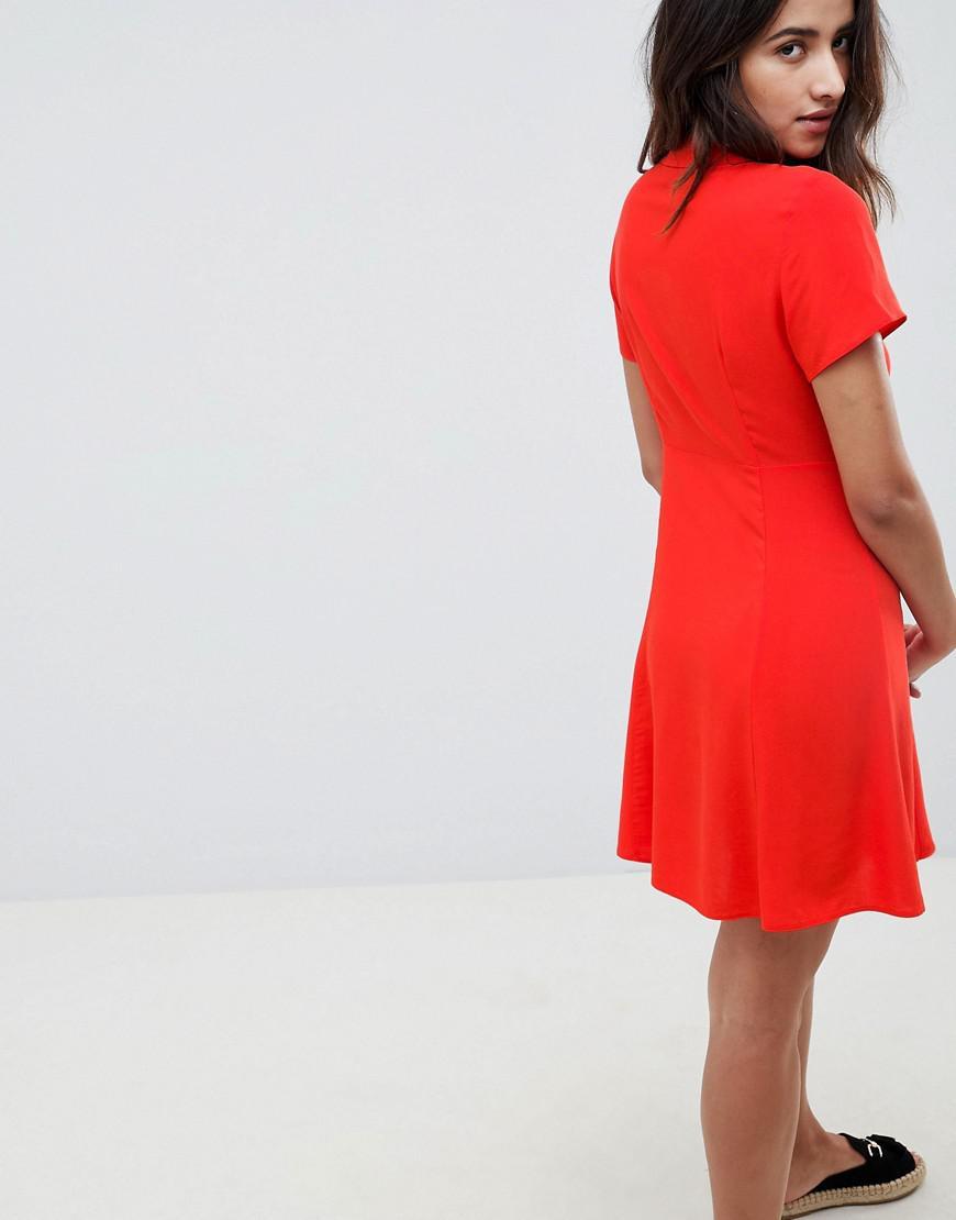 60d08b6941c8 Lyst - ASOS Button Through Mini Skater Dress in Red