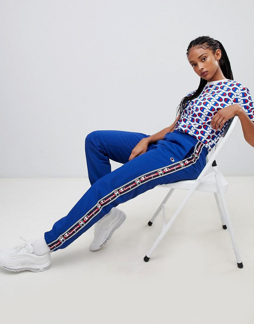 2a82e662 Champion Retro Tracksuit Bottoms With Logo Taping in Blue - Lyst