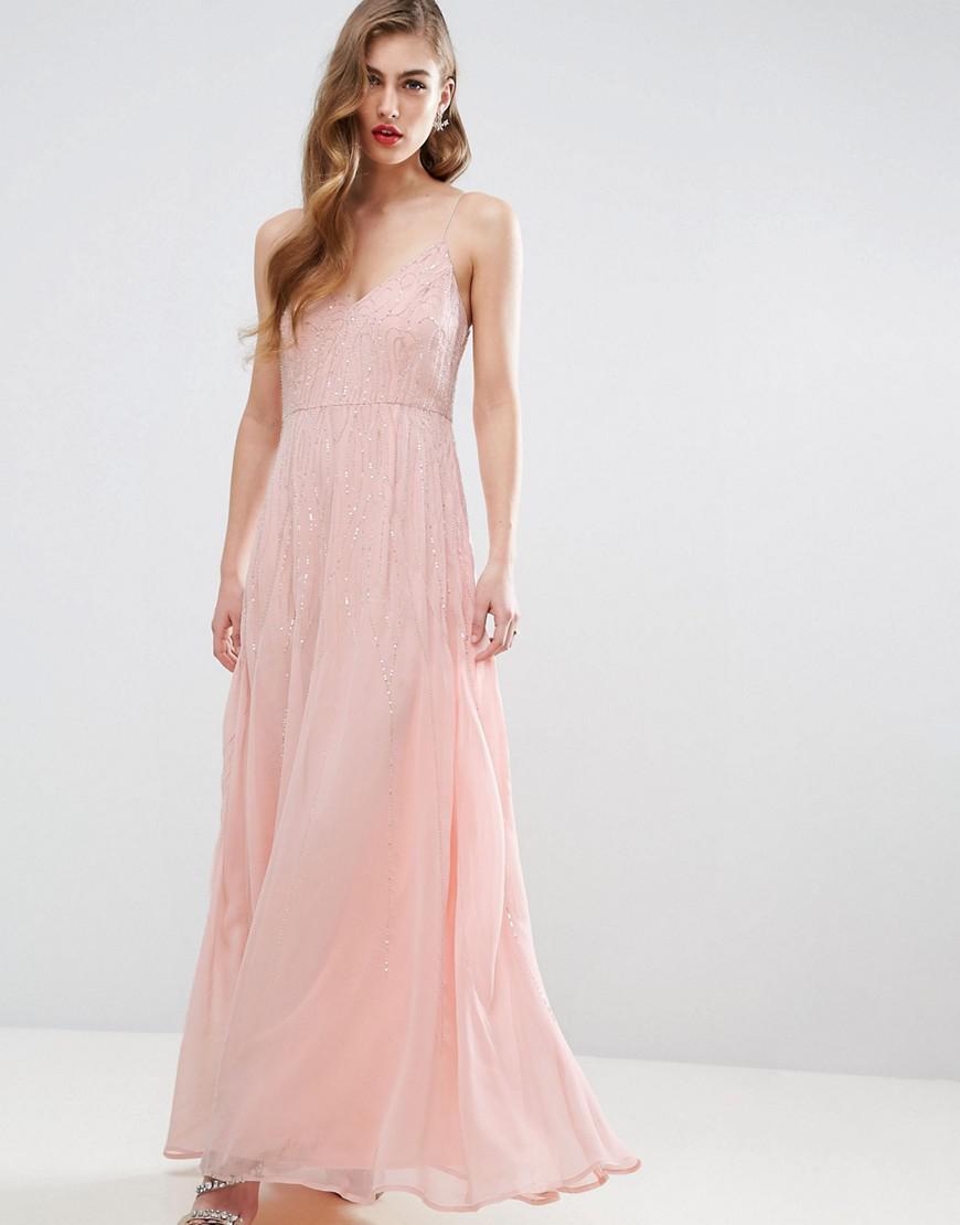 Lyst - Asos Design Bridesmaid Cami Strap Embellished Maxi Dress in ...