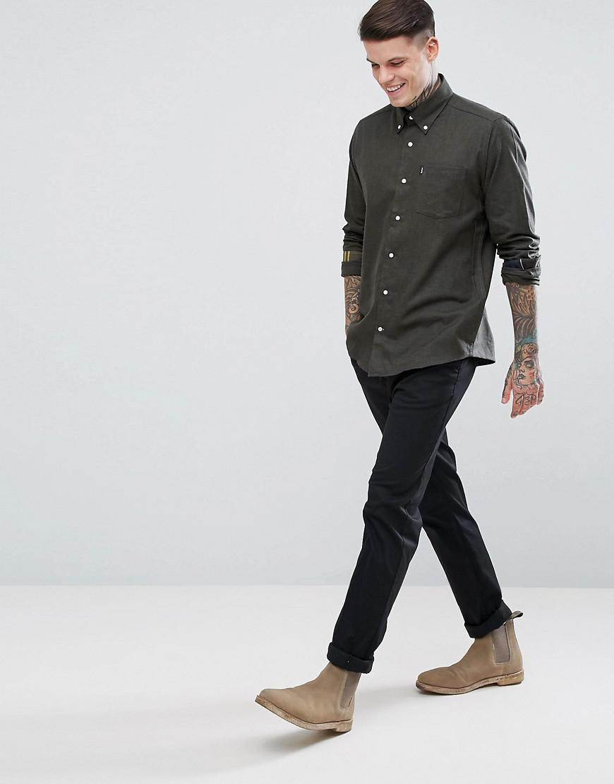 Barbour Don Slim Fit Twill Button Down Shirt Exclusive In Olive In
