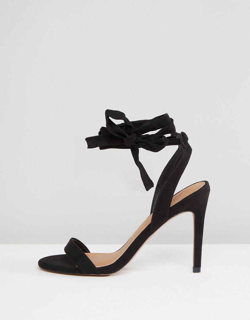 d85b0ad4f637 Lyst - ASOS Hatty Barely There Heeled Sandals in Black