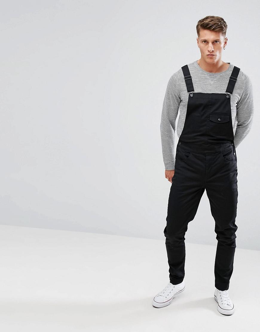 a8395ec4ca37 Lyst - ASOS Skinny Dungarees In Black in Black for Men