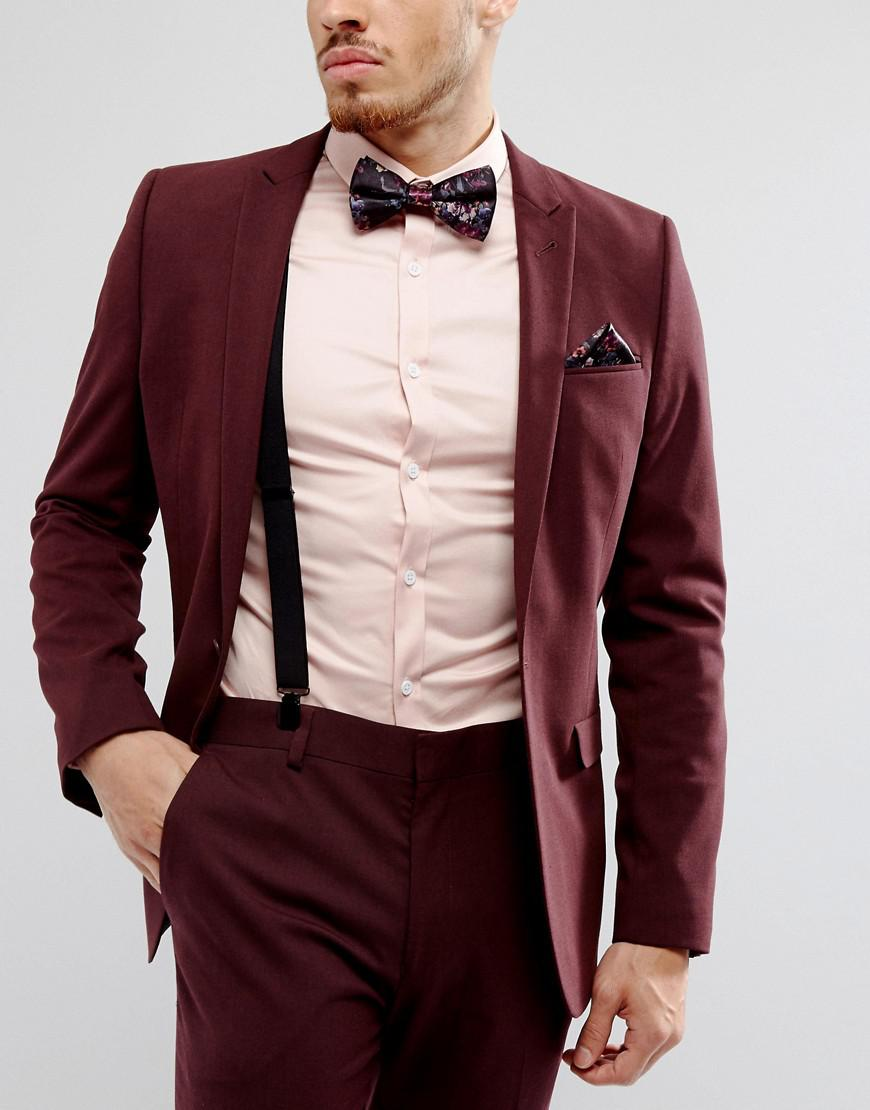 4bea1b53fa4 ASOS Dark Floral Bow Tie Pocket Square   Braces Set in Black for Men ...
