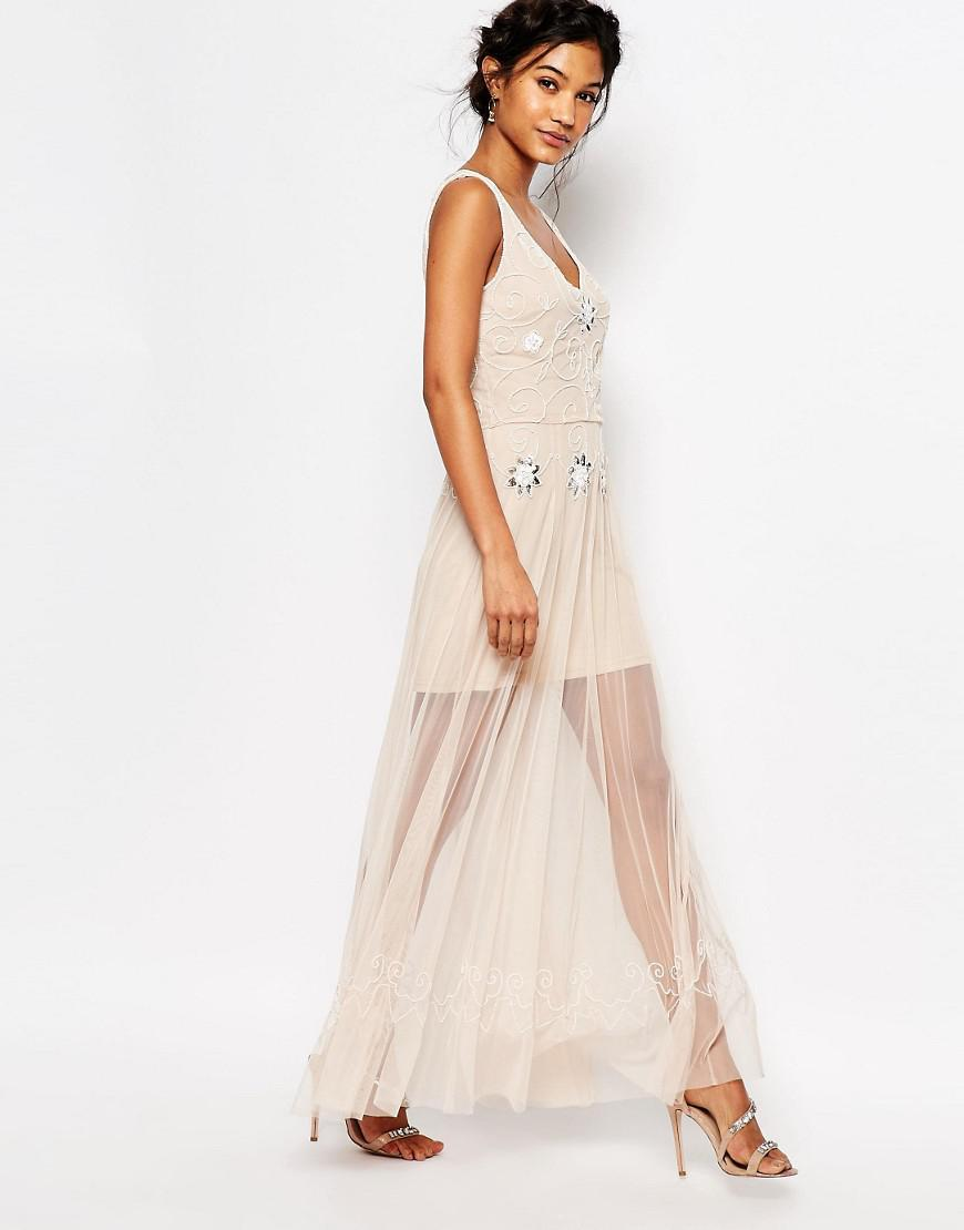 6582008390f0 Boohoo Boutique Beaded Barely There Maxi Dress in Natural - Lyst