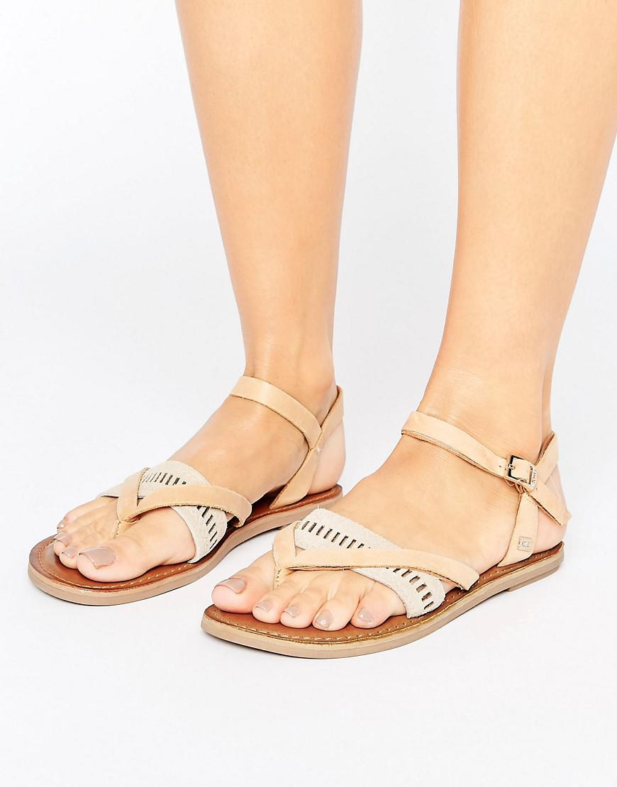 fc417695236 TOMS Lexie Tan Leather Flat Sandals in Brown - Lyst