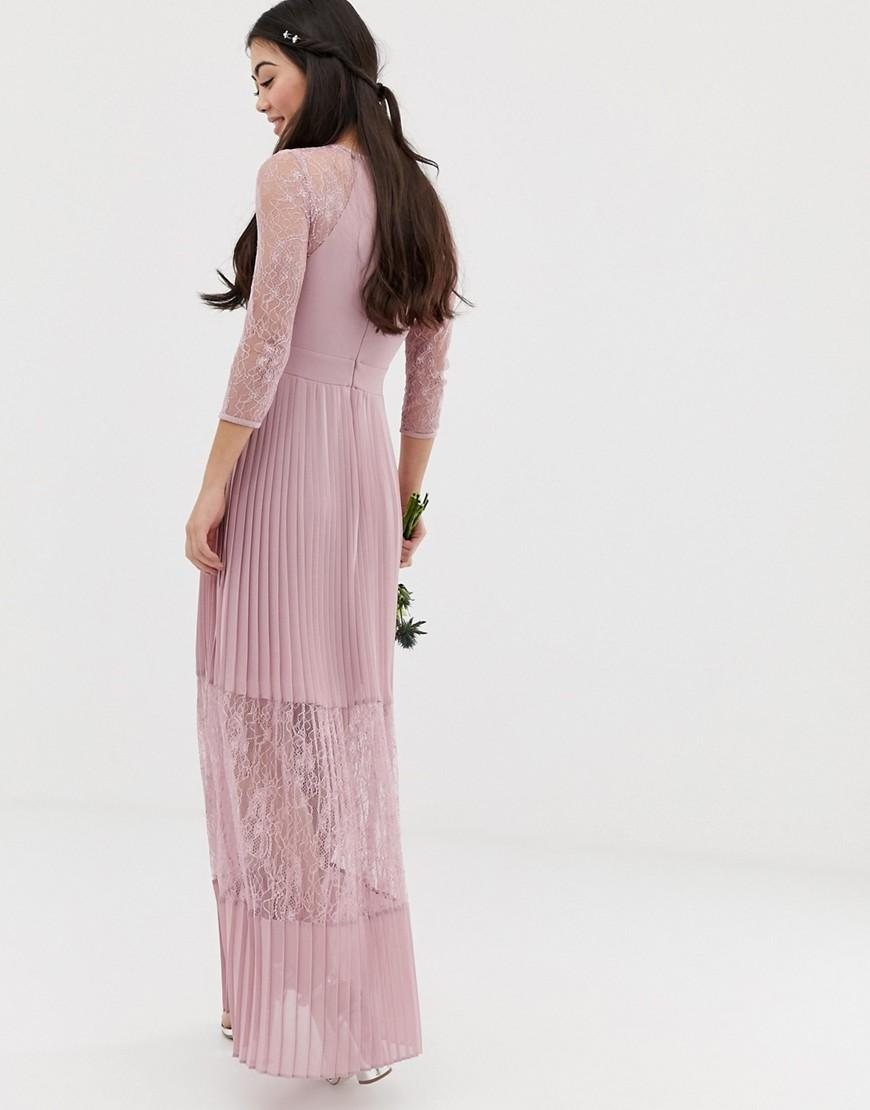 c382cc5943ad Lyst - Tfnc London Bridesmaid Exclusive Pleated Maxi Dress With Lace Insert  In Pink in Pink