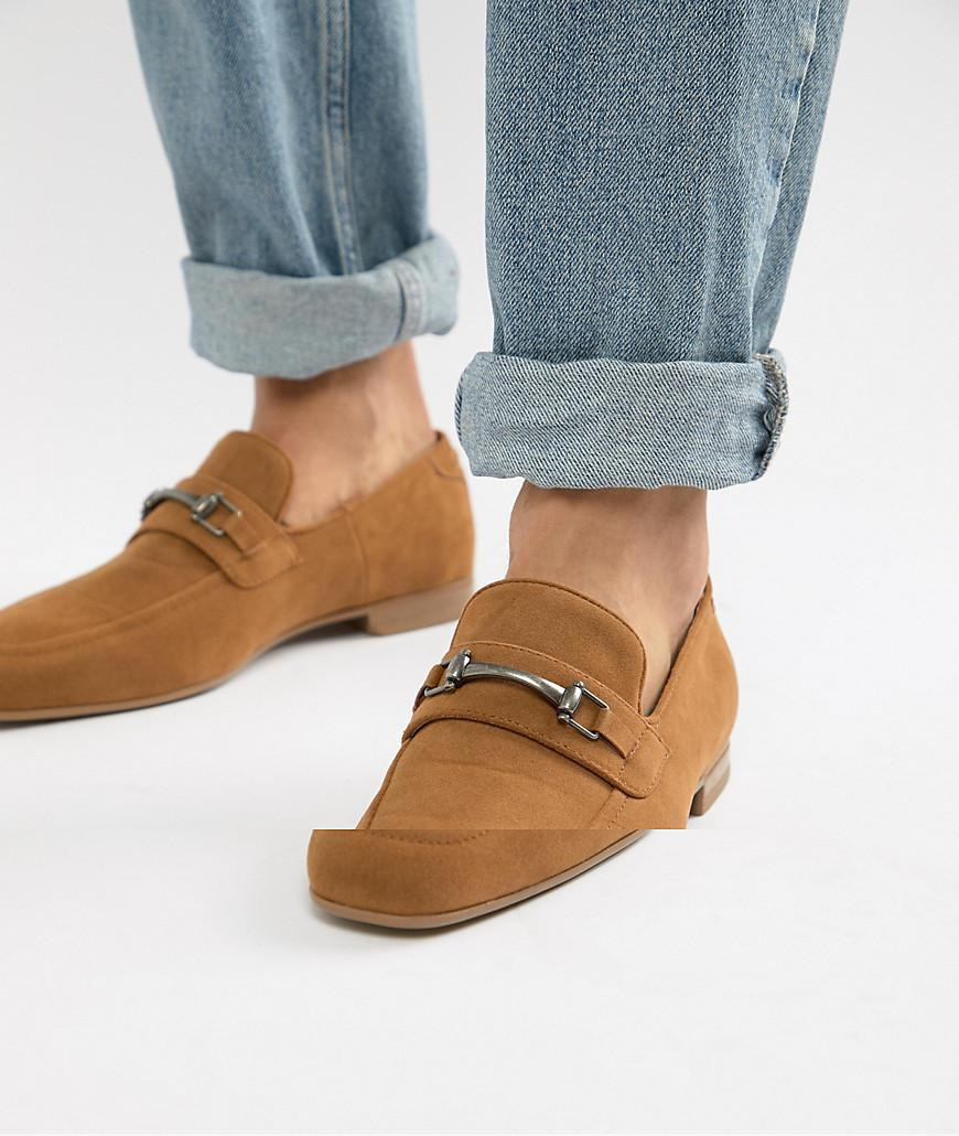 c079e51172 ASOS Loafers In Tan Faux Suede With Snaffle Detail in Brown for Men ...