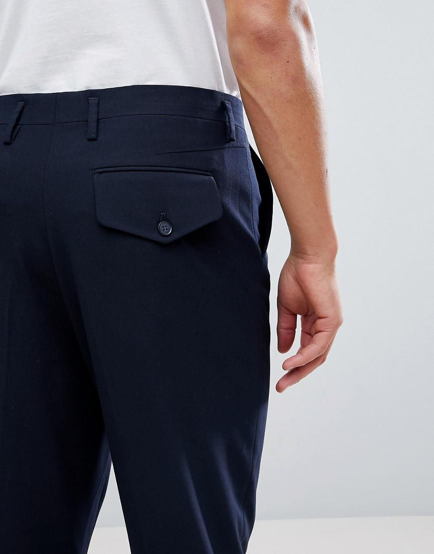 Drop Crotch Tapered Smart Trousers In Navy With Back Pocket Detail - Navy Asos Sale Low Cost Outlet View Manchester Sale Online g9XDYKcm