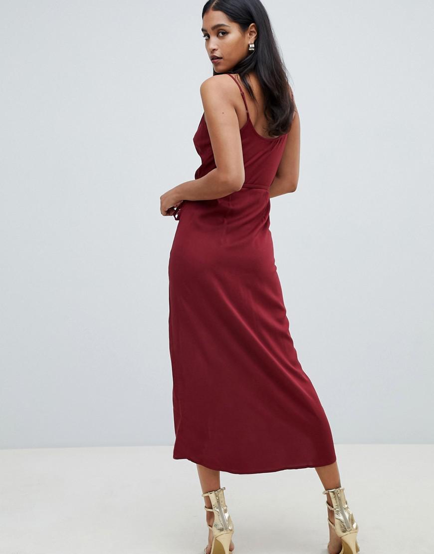 9860b9ae7b95a ASOS Cami Wrap Maxi Dress in Red - Lyst