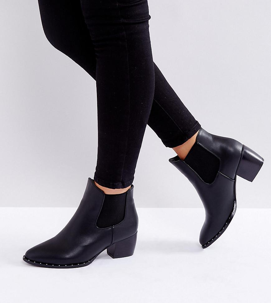truffle collection wide fit kitten heel chelsea boot in