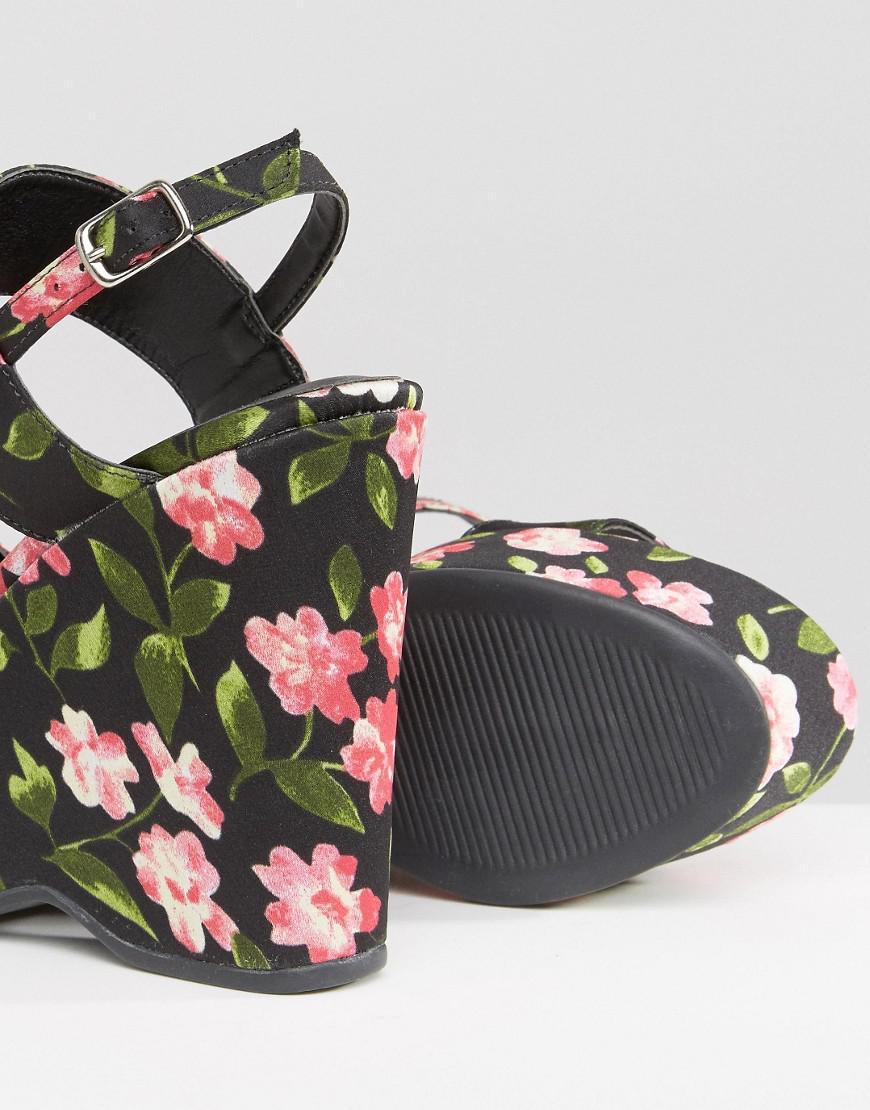 warehouse Floral Print Platform Wedges DzcSC