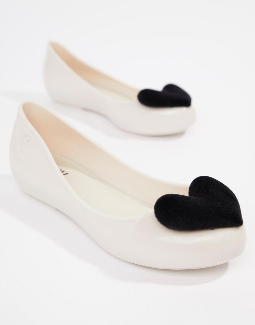 9dc627e3cbd9 Lyst - Zaxy Flock Heart Flat Shoes in Black