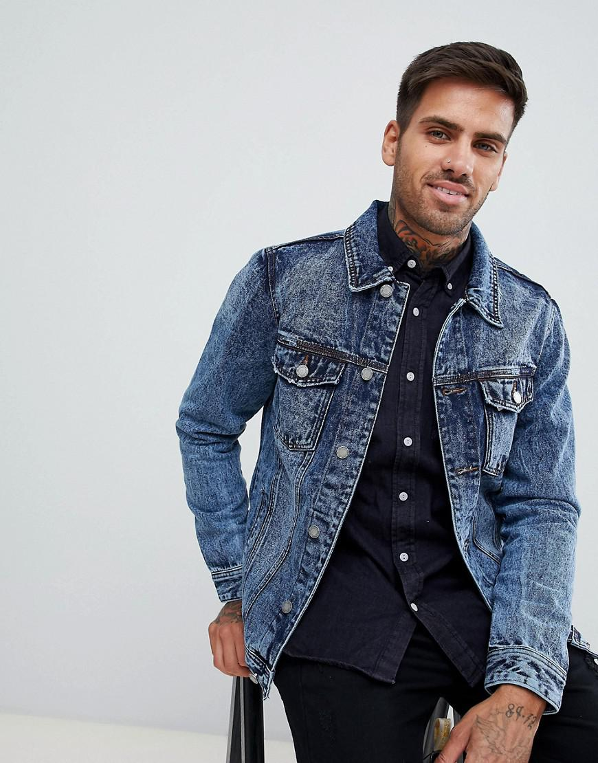 fa4e7a8a8f86c Pull Bear Denim Jacket In Mid Blue in Blue for Men - Lyst