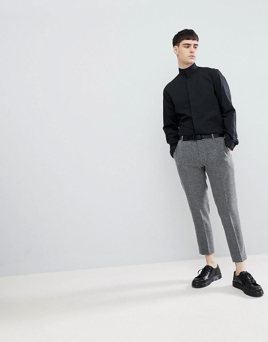 c56ab001b Lindbergh Mandarin Collar Shirt In Black in Black for Men - Lyst