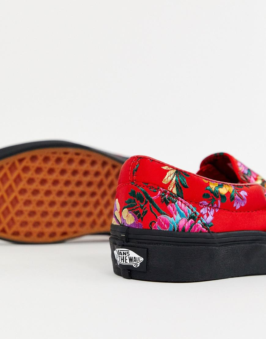 0a22173e15cf Vans Classic Slip-on Red Floral Satin Sneakers in Red - Lyst