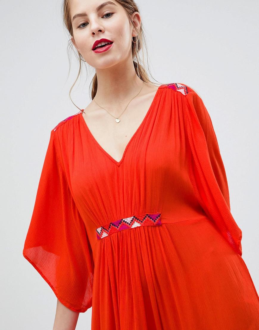 Maxi Dress With Embroidery - Orange Vila 8itQD9X