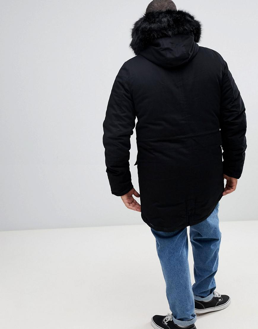 30f0d4b37f44a Sixth June Parka Coat In Black With Black Faux Fur Hood in Black for Men -  Lyst