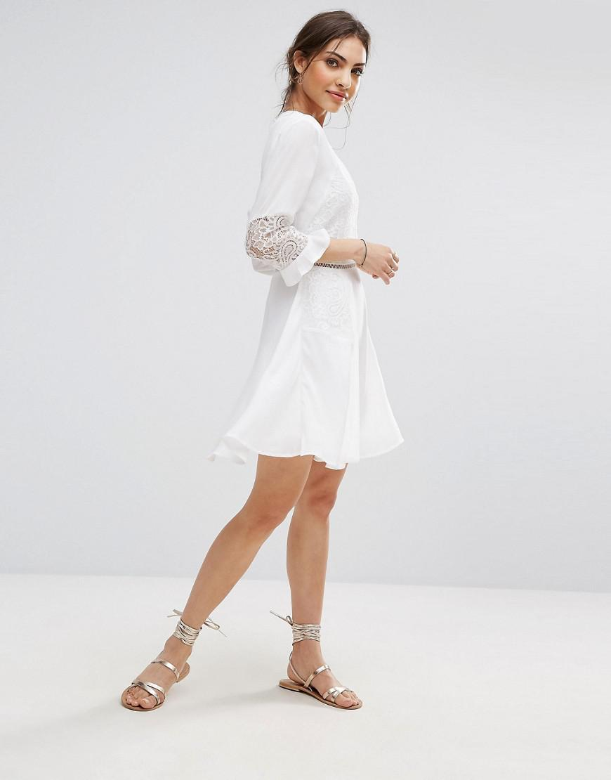 Boohoo White Lace Dress Asos