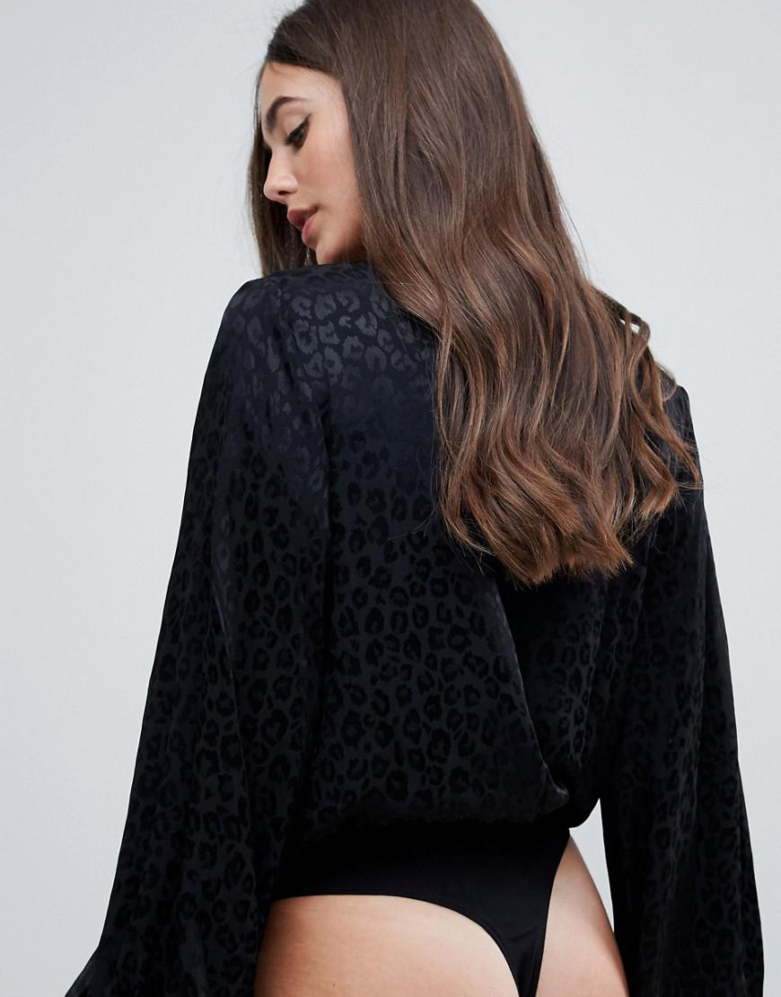 8f43e8d738bb ASOS Asos Design Tall Long Sleeve Plunge Body In Leopard Jacquard in Black  - Lyst