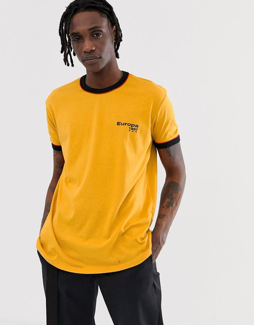 2ed0eb26 Lyst - New Look Oversized Ringer Europa T-shirt In Yellow in Yellow ...