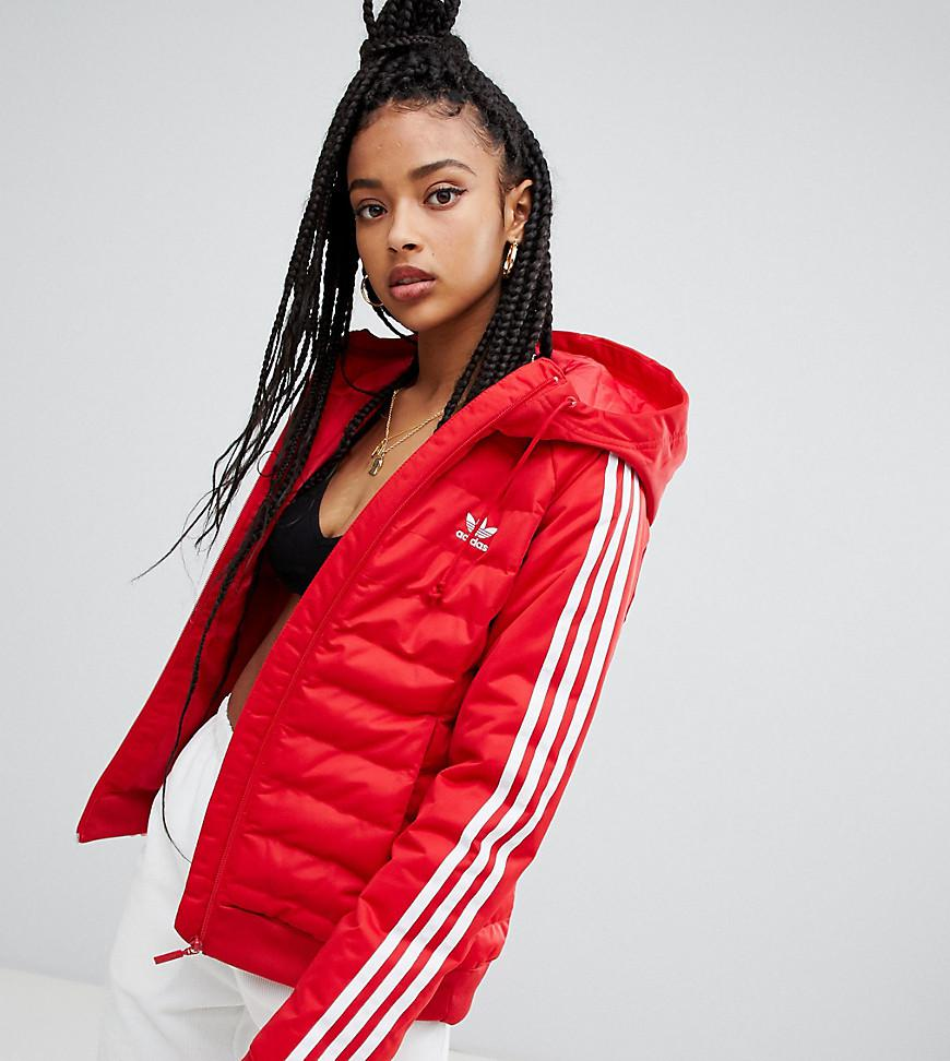 09e7e815bff69 adidas Originals Three Stripe Padded Jacket In Red in Red - Lyst