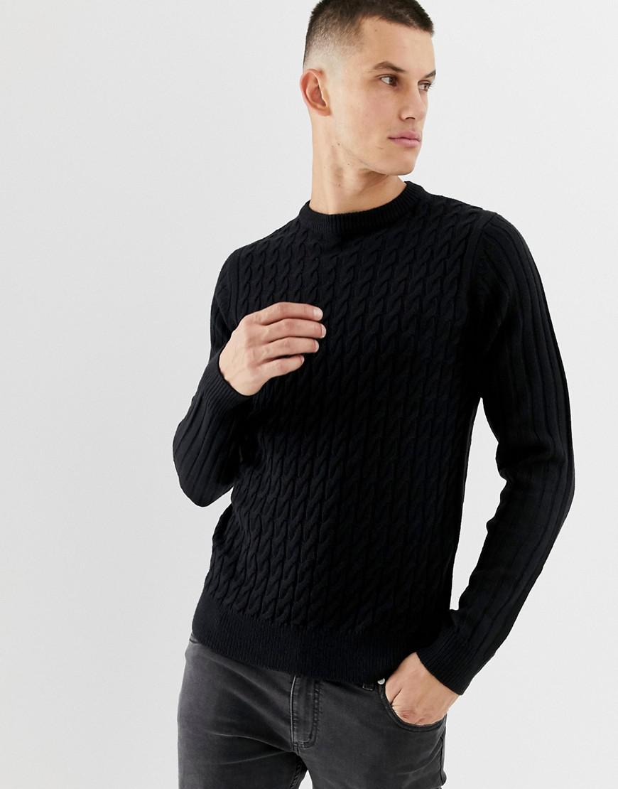 3804d4f9d6e Lyst - New Look Cable Knit Jumper In Navy in Blue for Men
