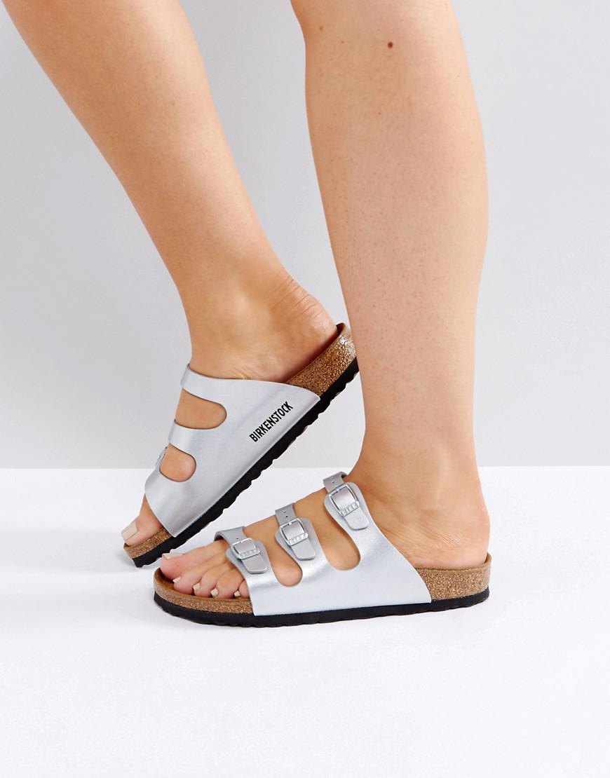 Lyst - Birkenstock Florida Birko Silver Flat Sandals in Metallic 749cada7c5a