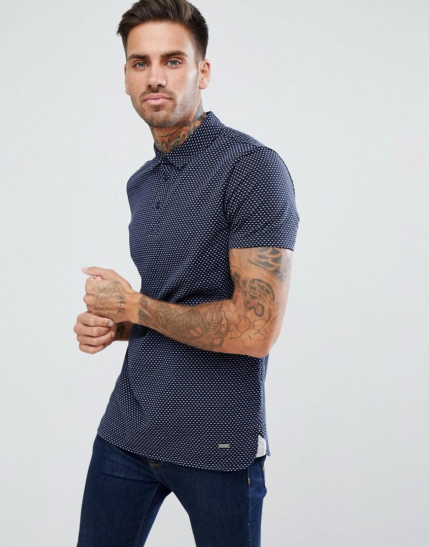 lyst boss by hugo boss by hugo boss perfect slim fit mini geo polo shirt in navy in blue for men. Black Bedroom Furniture Sets. Home Design Ideas