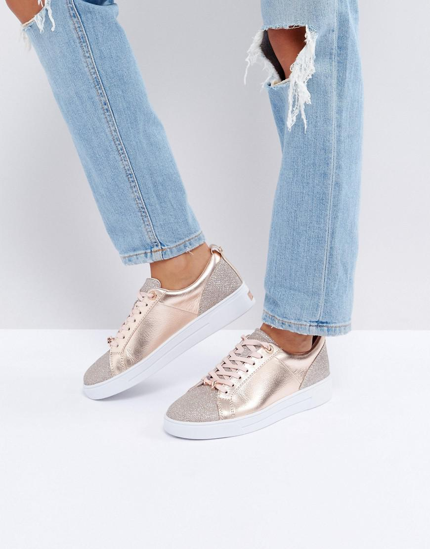 Kulei Rose Gold Sparkling Trainers - Rose gold Ted Baker