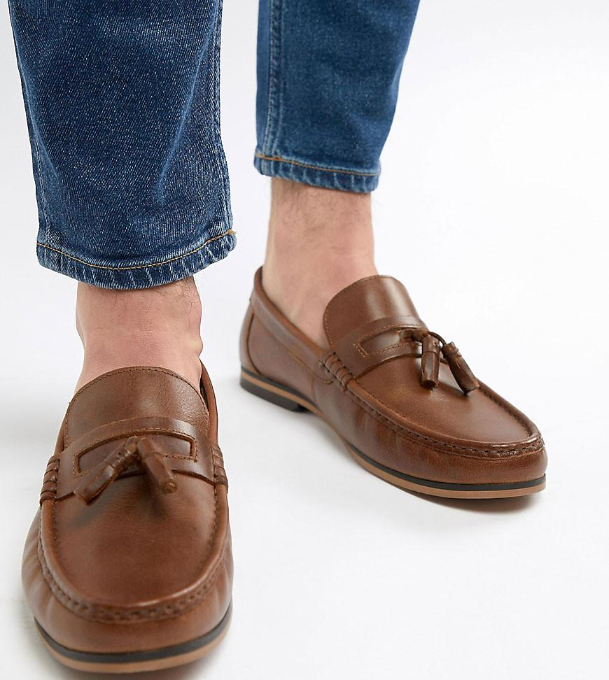 d12fa33839d ASOS Wide Fit Tassel Loafers In Tan Leather With Natural Sole in ...