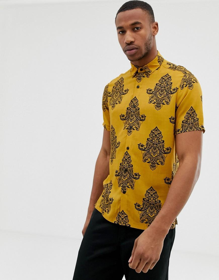 17caf1f9342 Asos Regular Fit Shirt In Mustard Paisley Print in Yellow for Men - Lyst