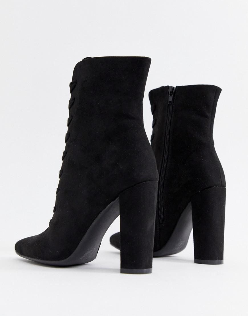 91ec98323b1 Lyst - ASOS Elicia Lace Up Heeled Boots in Black