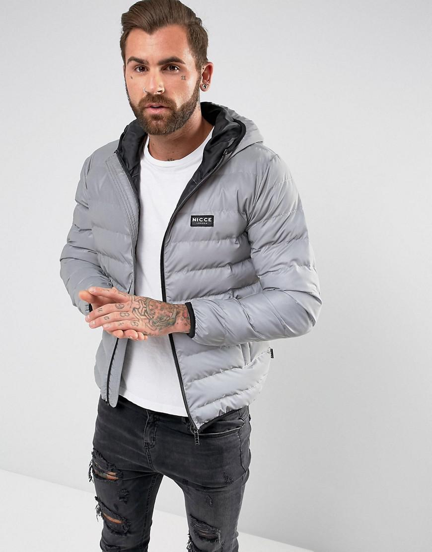 Nicce London Puffer Jacket In Reflective With Hood In Gray For Men