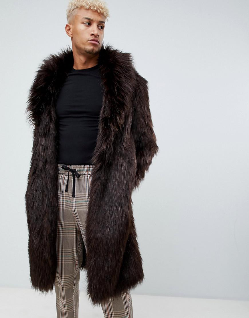 4ad3798214076 Lyst - ASOS Oversized Faux Fur Coat In Brown in Brown for Men