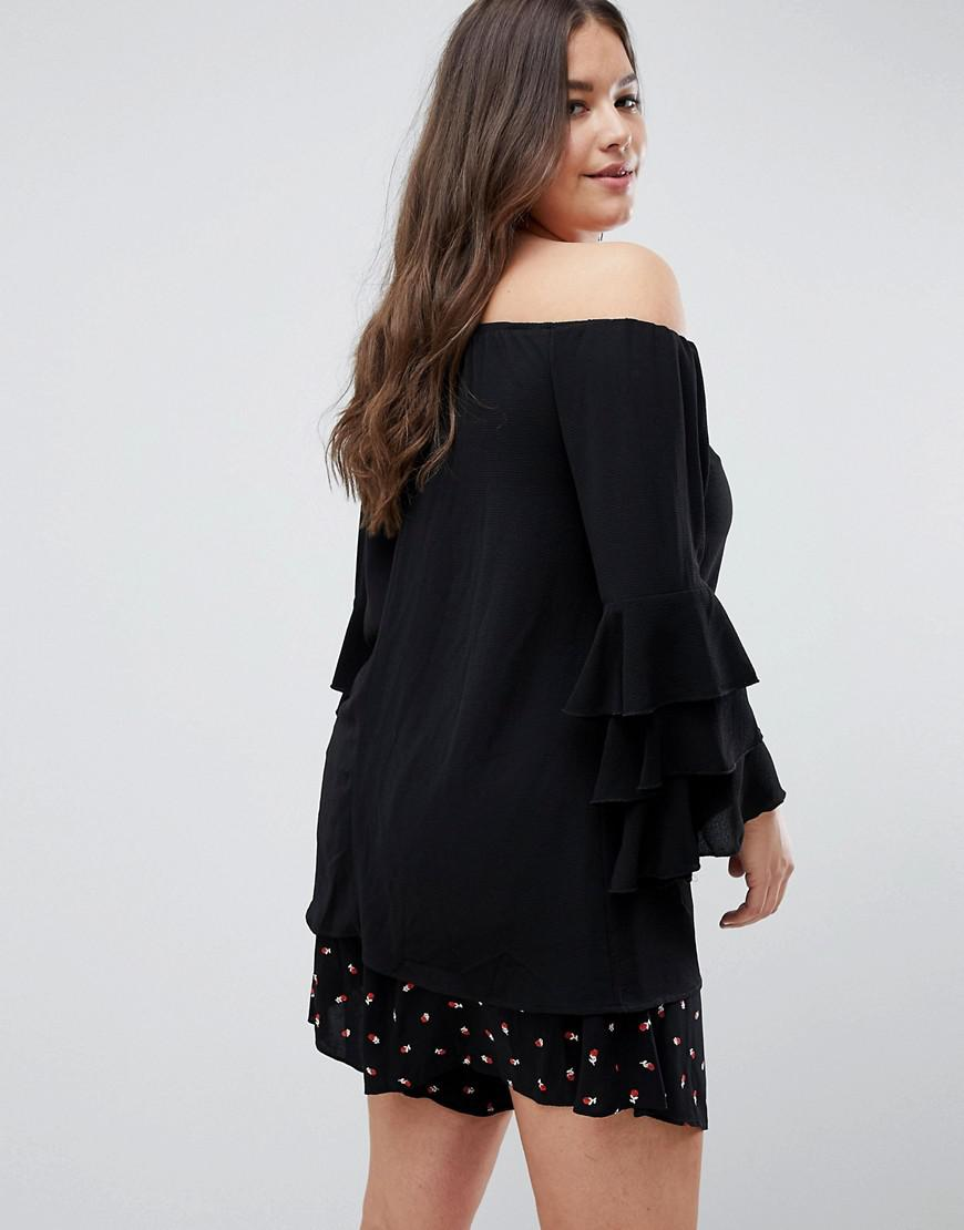 c11ee0a74ad656 AX Paris Tiered Sleeve Off The Shoulder Top in Black - Lyst