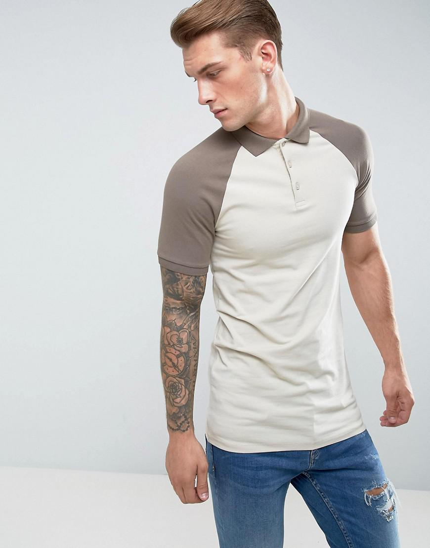 c0fb43d20 ASOS Longline Muscle Fit Polo Shirt With Contrast Raglan In Beige in ...