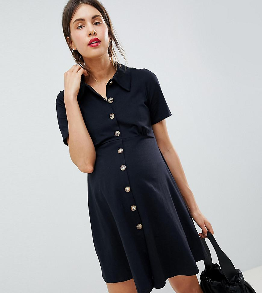 5bd332429f5 ASOS. Women s Black Asos Design Maternity Polo Shirt Dress With Faux Tortoiseshell  Buttons
