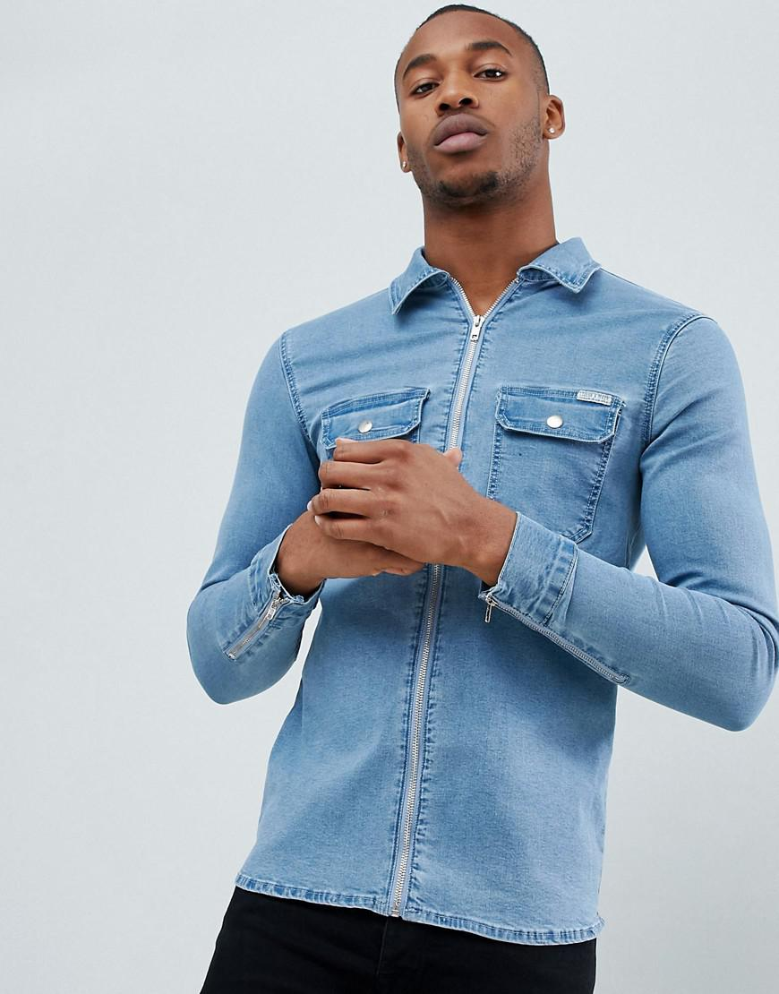 7f956dae11 Lyst - Liquor N Poker Shirt With Zip Cuff In Light Blue in Blue for Men