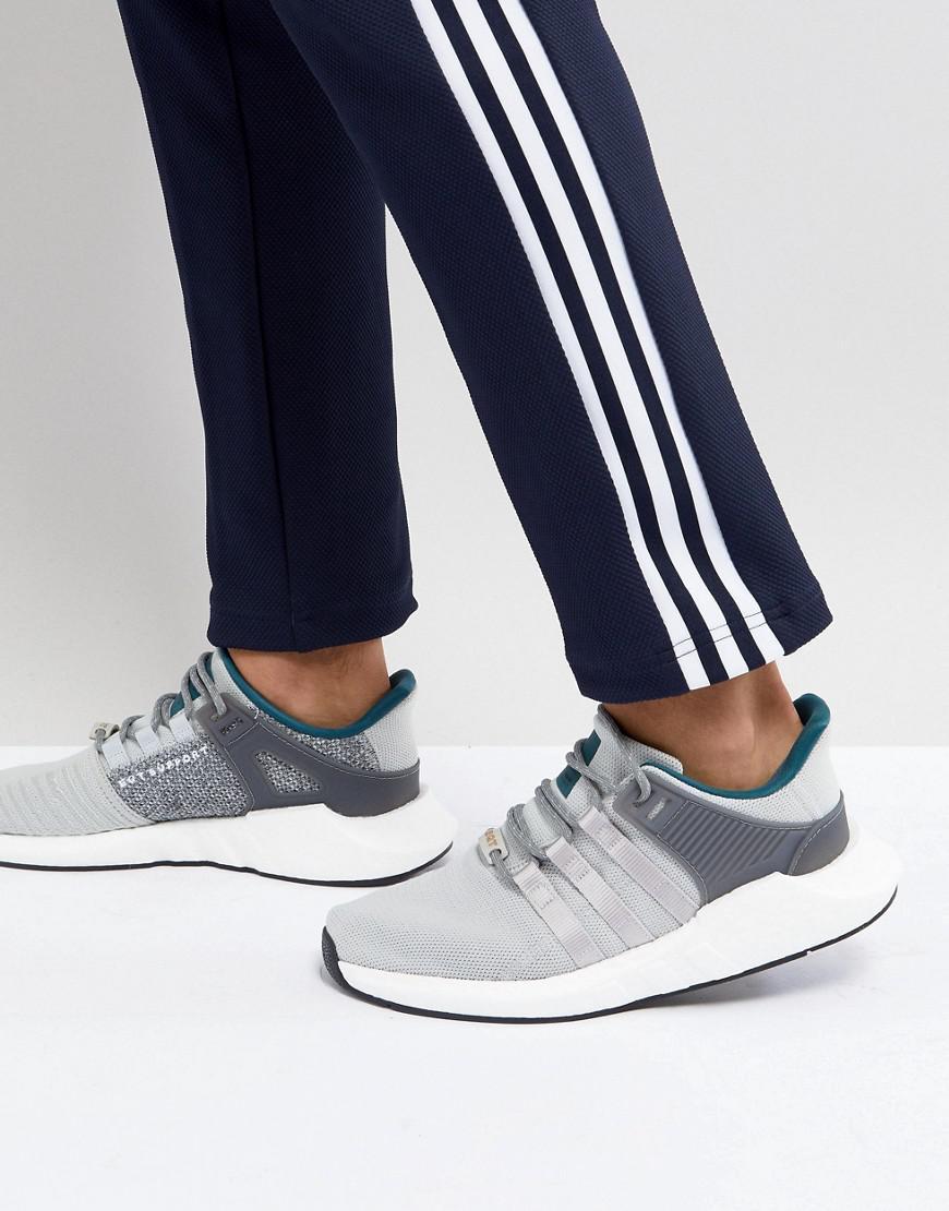 lyst adidas originali eqt sostegno 93 / 17 allenatori in grigio cq2395 in