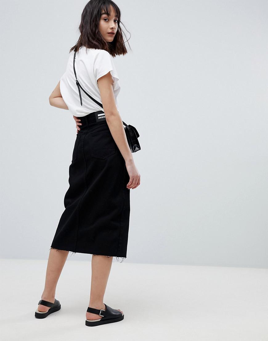 Lyst - Jupe en jean mi-longue fendue sur le devant Dr. Denim en coloris Noir 6880769ca0c3