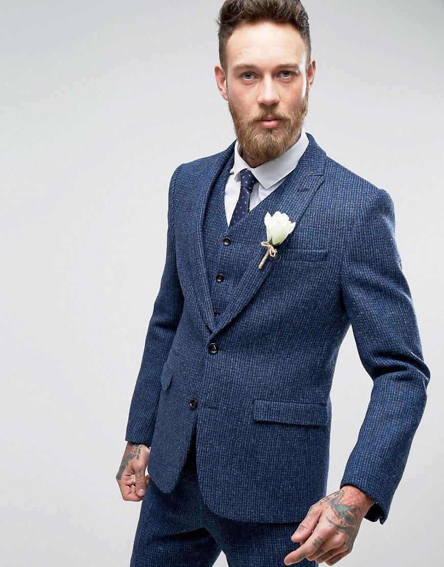 Lyst - Asos Wedding Slim Suit Jacket In Harris Tweed Check In 100 ...
