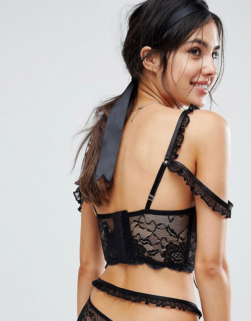 03a7acfb72 Lyst - ASOS Asos Premium Danielle Lace Up Long Line Underwire Bra in Black