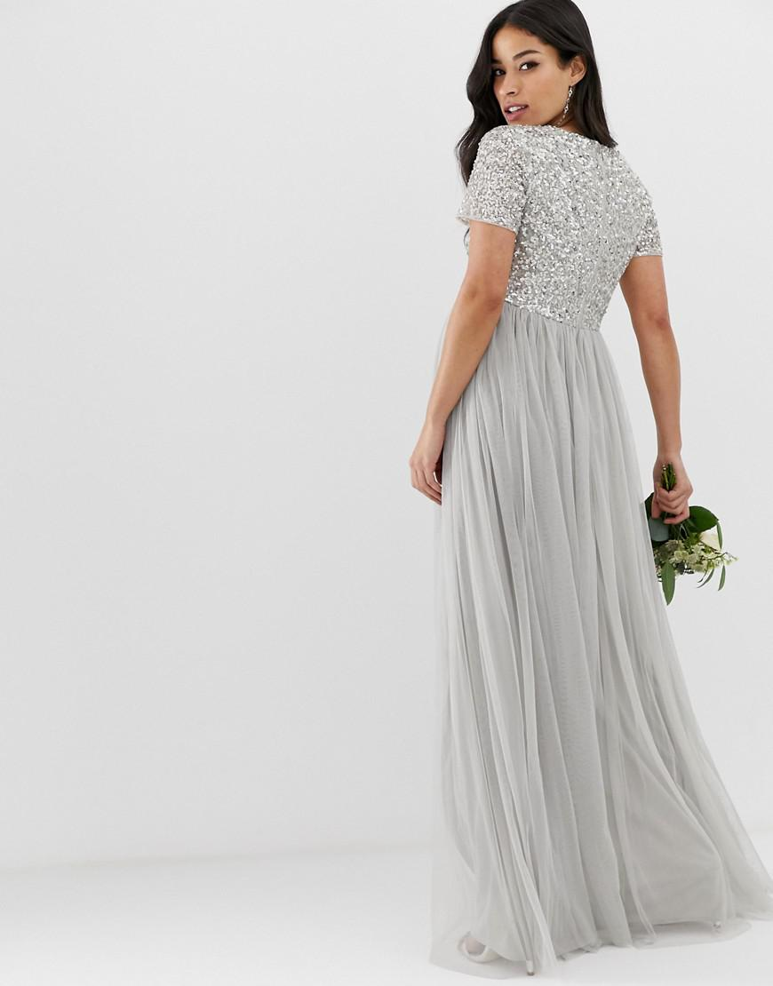 60d9346caa9 Maya Maternity Bridesmaid V Neck Maxi Tulle Dress With Tonal Delicate  Sequins In Soft Grey in Gray - Lyst