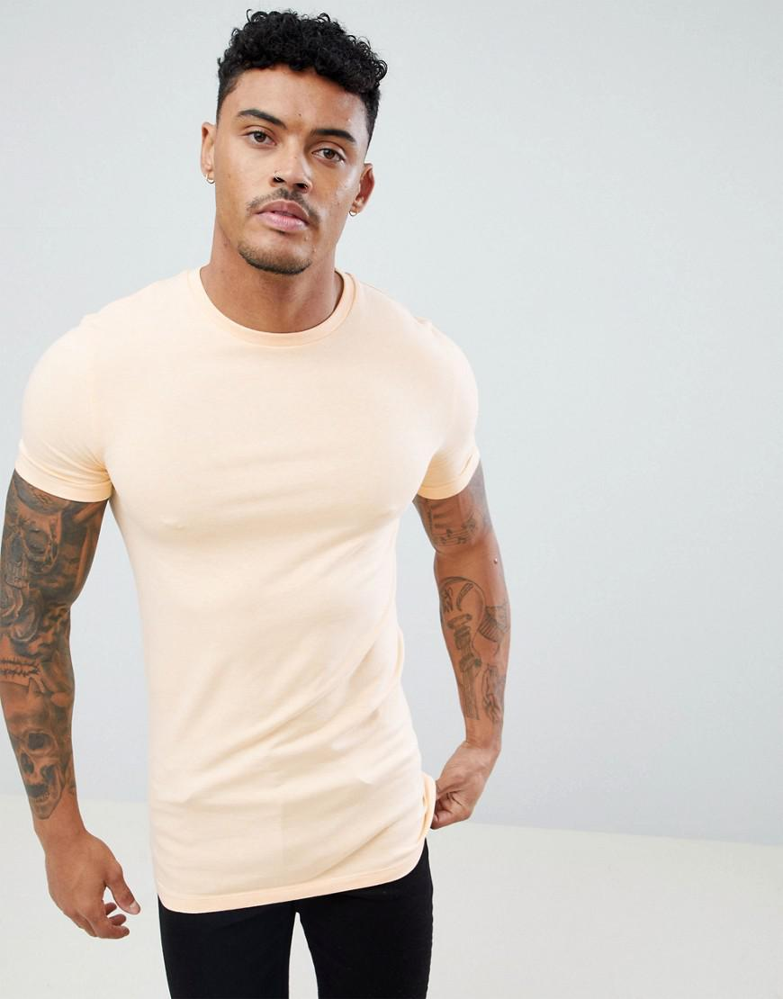 0c86bfc10630 ASOS Longline Muscle Fit T-shirt With Crew Neck And Stretch in ...