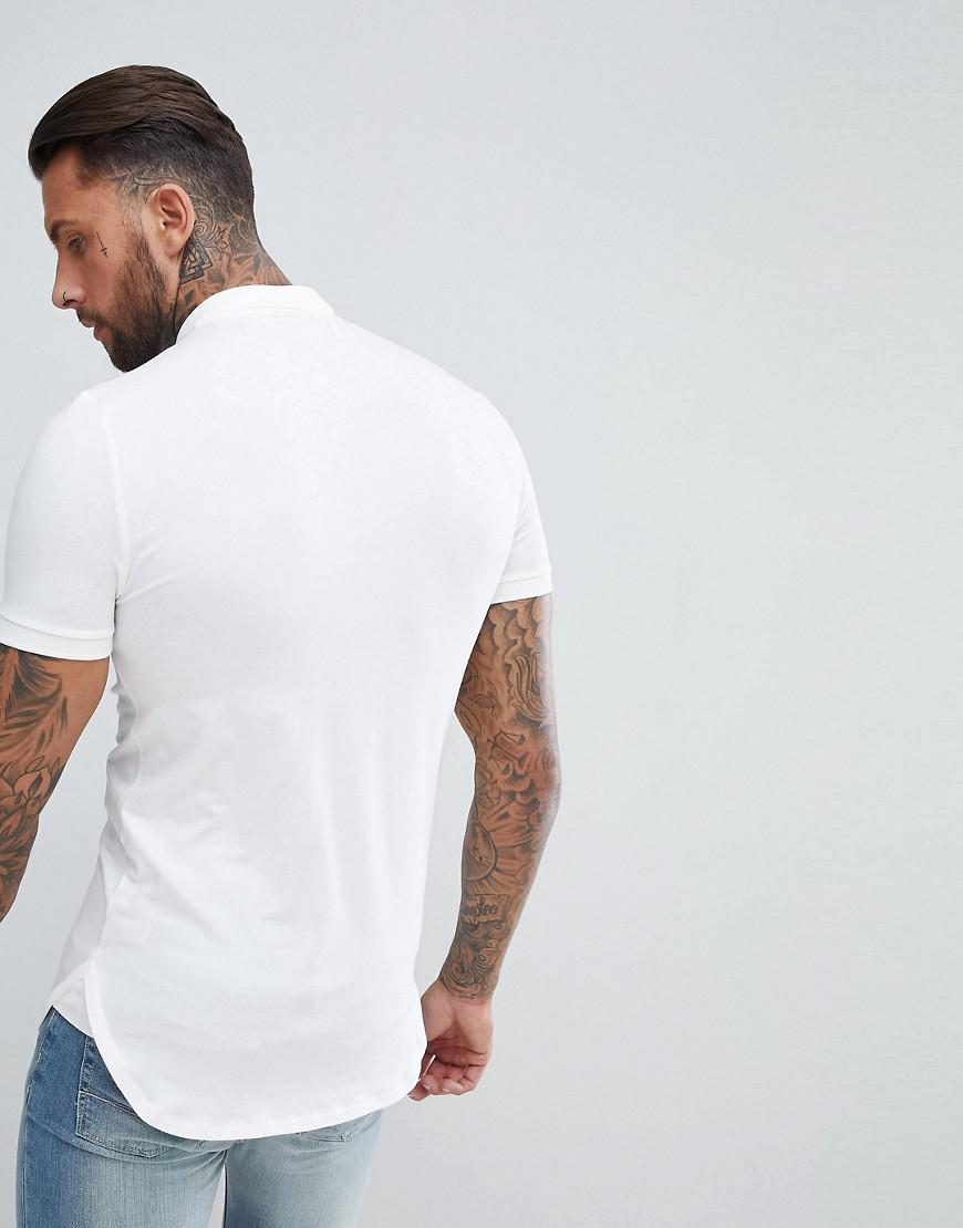0d7d3b1c ASOS Longline Muscle Fit Jersey Polo With Bound Curved Hem In White in  White for Men - Lyst