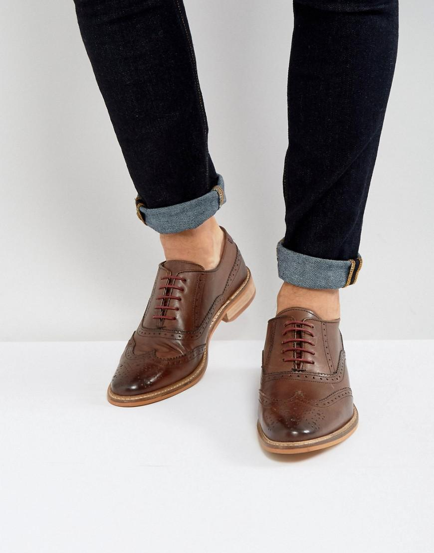 Lyst - ASOS Brogue Shoes In Brown Leather With Natural Sole in Brown ... b5d7b56a9f5