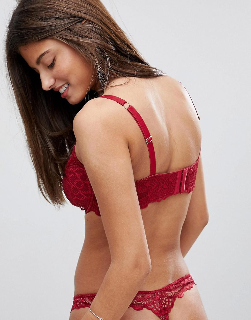 19ab4850ed Lyst - ASOS Fuller Bust Rita Lace Mix   Match Plunge Bra in Red