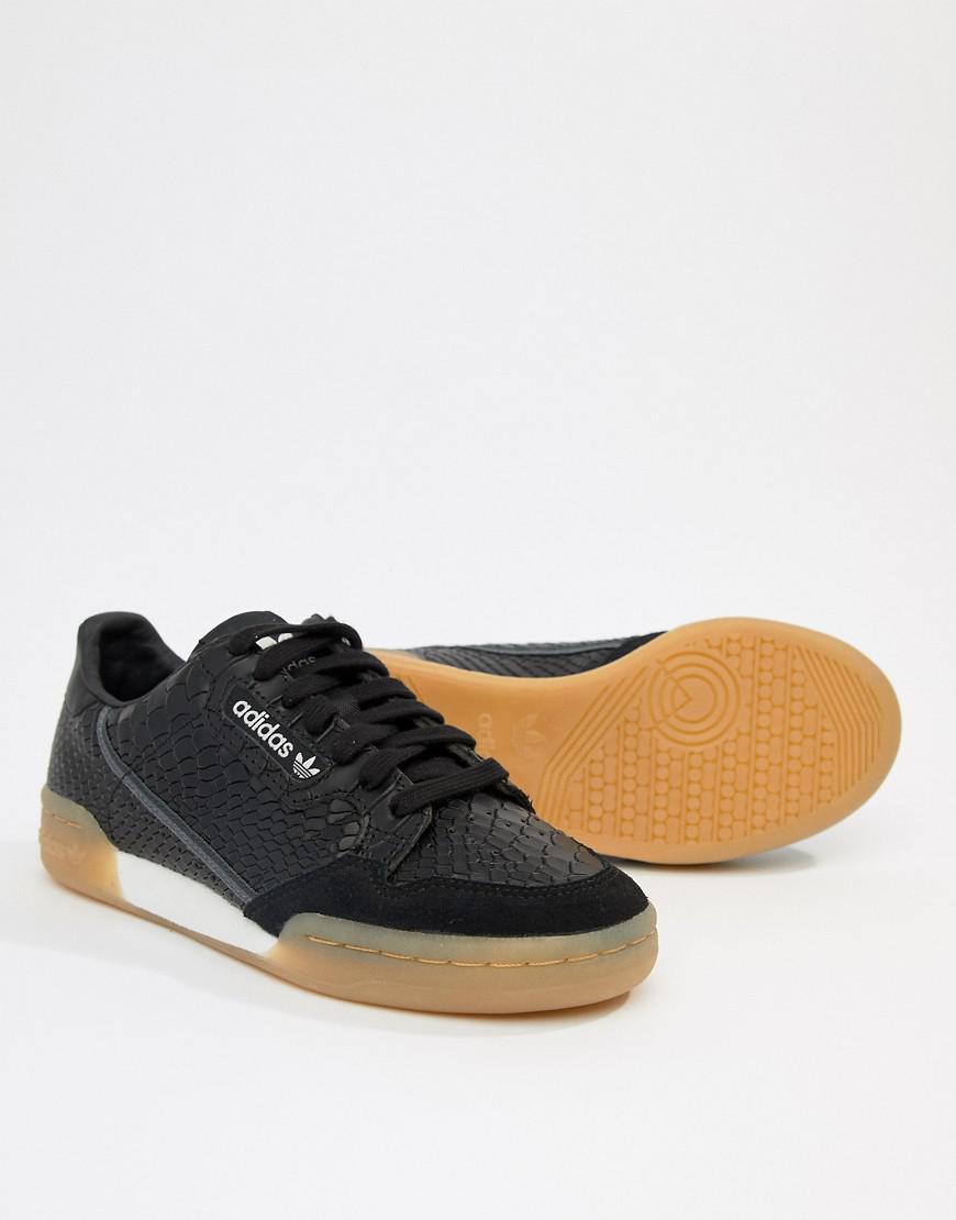 bd0a08edc8 adidas Originals Continental 80 s Sneakers In Black With Gum Sole in Black  - Lyst