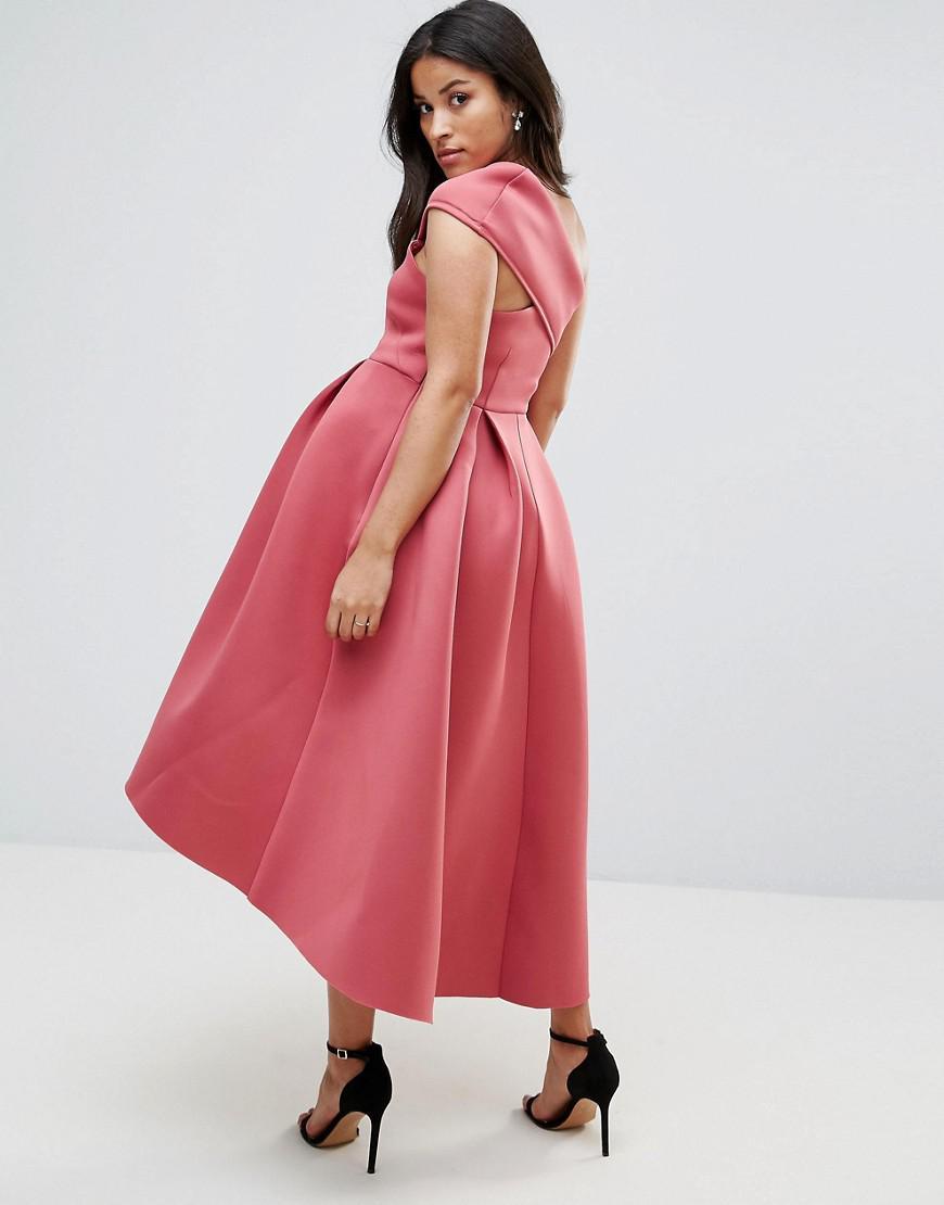 51fe75c1e81 Lyst - ASOS Petite One Shoulder Foam Scuba Dip Back Midi Skater Dress in  Pink - Save 14%