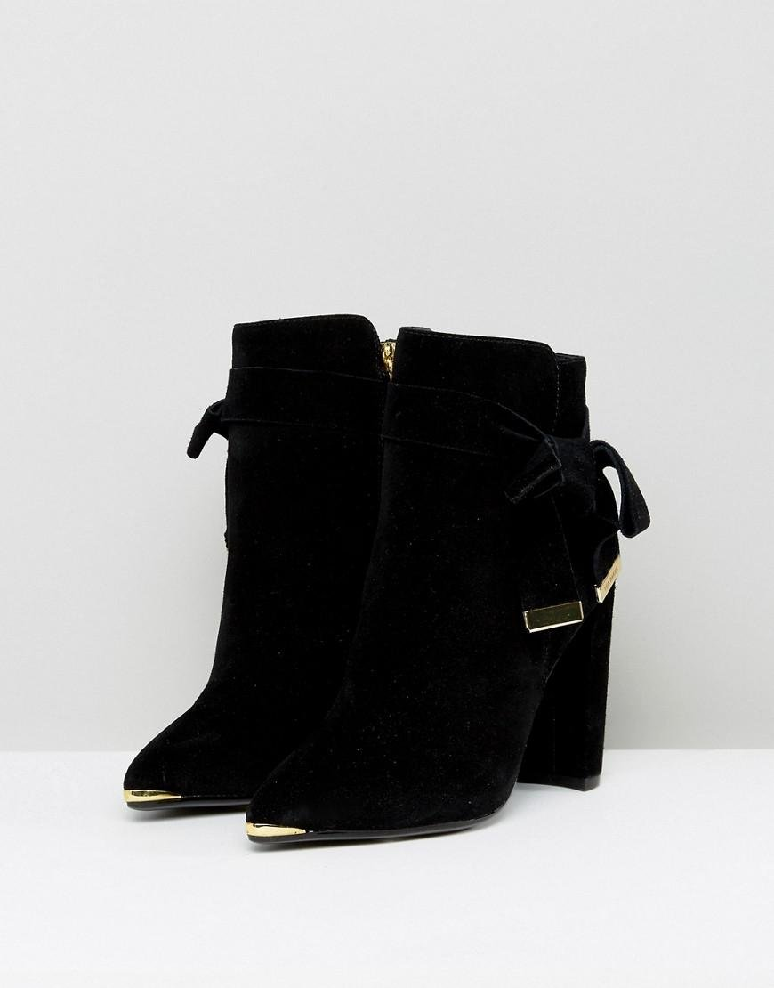 77ace063fa8 Lyst - Ted Baker Sailly Tie Up Black Suede Heeled Ankle Boots in Black